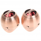 USB Rechargeable Portable MP3 Music Speaker - Bronze (Pair/3.5mm Jack)