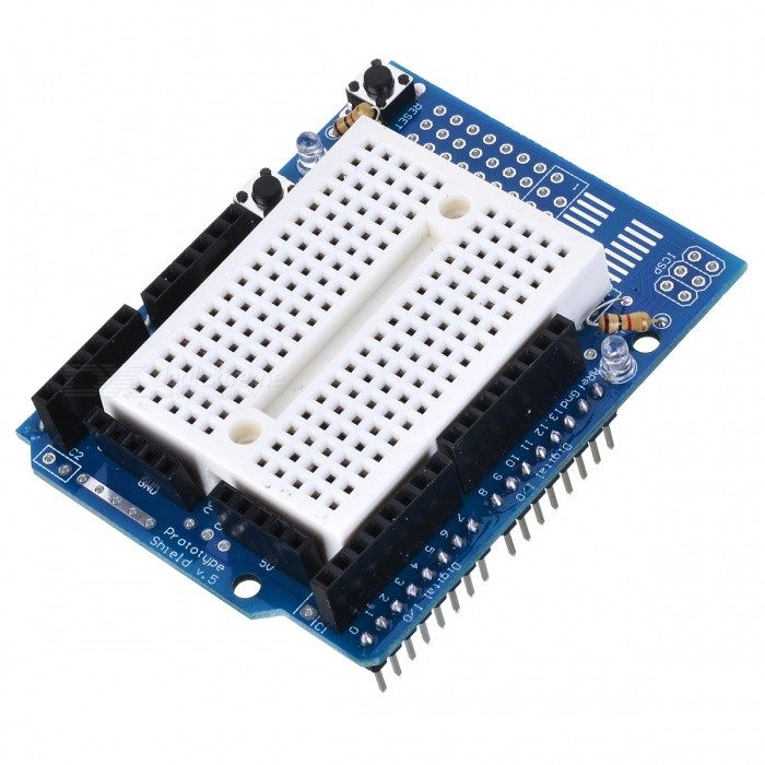 Prototype shield with mini breadboard for arduino works