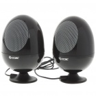 Cute Egg Shaped USB Powered Portable Stereo Speakers - Black (USB/3.5mm Jack)