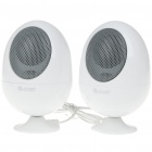 Cute Egg Shaped USB Powered Portable Stereo Speakers - White (USB/3.5mm Jack)