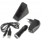 USB Car/AC Power Adapter with Charging Cable + Holder Stand Charger Kit for Nintendo 3DS