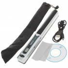"0.8"" LCD Cordless Handheld A4 Handy Scanner with USB + TF Card Slot - Silver + Black (2xAA)"