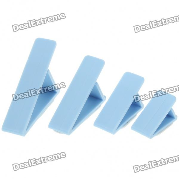 Triangle PVC Cord Ring Clamp Ties - Blue (4-Piece Pack)