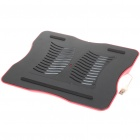 Stylish USB Powered Blue LED Light Cooling Pad for Laptops - Red