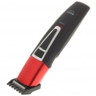 Waterproof Rechargeable Hair Trimmer with Accessories Set - Black + Red (220V AC)