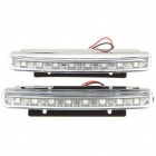 2W 6000K 8-LED 48-Lumen White Light Daytime Running Lamps for Car (Pair/DC 12V)