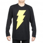 The Big Bang Theory Series Lightning Bolt Design Long Sleeve T-shirt - Black (Size XXL)