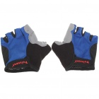 Half-Finger Cycling Bike Hiking Gloves - Blue + Black + Grey (Size XL/Pair)
