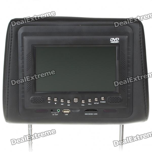"Car Headrest 7"" LCD DVD Media Player with FM/AV In & Out/TV/SD/USB"