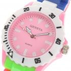 Colorful Sports Plastic Water Resistant Quartz Wrist Watch - Pink + White Dial (1 x 377)