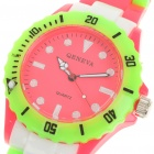 Colorful Sports Plastic Water Resistant Quartz Wrist Watch - Red + Green Dial (1 x 377)