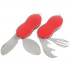 Compact Portable Stainless Steel Spoon Fork Cutlery Tableware Set - Color Assorted