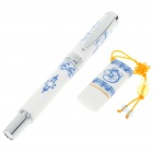Elegant Blue and White Porcelain USB Flash Drive + Ballpoint Pen Set (4GB)
