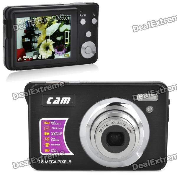 "5MP CMOS Compact Digital Video Camera w/ 4X Digital Zoom/SD Slot - Black (2.7"" TFT LCD)"
