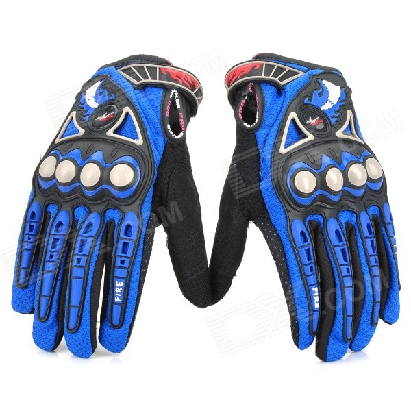 Stylish Full-Finger Racing Gloves - Black + Blue (Size L/Pair) pro mcs15 motorcycle racing full finger protection gloves blue l pair