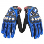Stylish Full-Finger Racing Gloves - Black + Blue (Size L/Pair)