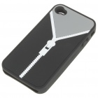 Zip Pattern Protective Soft Silicone Back Case with Cleaning Cloth for iPhone 4 - Black + Grey