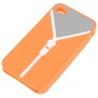 Zip Pattern Protective Soft Silicone Back Case with Cleaning Cloth for iPhone 4 - Orange + Grey