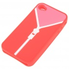Zip Pattern Protective Soft Silicone Back Case with Cleaning Cloth for iPhone 4 - Rose Red + Pink
