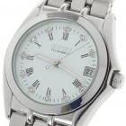 Stainless Steel Mechanical Wrist Watch with Date Display - Silver + White