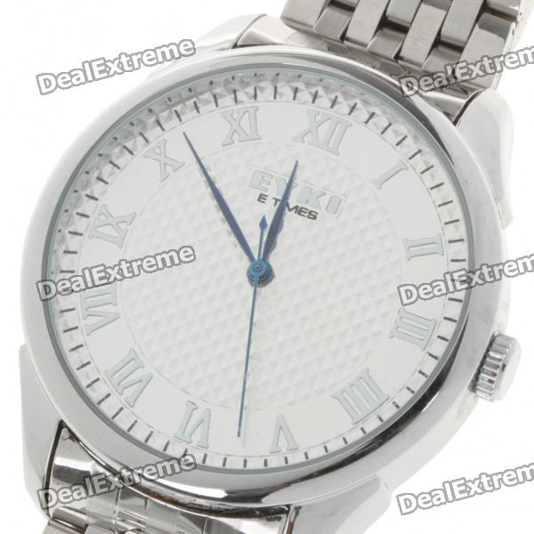 Stainless Steel Quartz Wrist Watch - Silver + White (1 x LR626) stylish crystal stainless steel quartz water resistant wrist watch light blue 1 x lr626