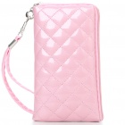 Stylish Soft PU Leather Case with Wrist Strap for Cellphone - Pink