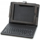 Bluetooth V2.0 Wireless Keyboard with Genuine Leather Case for Ipad/Ipad 2 - Black + Brown