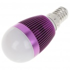 E14 3W 240-260LM 3000-3500K Warm White LED Light Lamp Bulbs - Purple (85~245V)