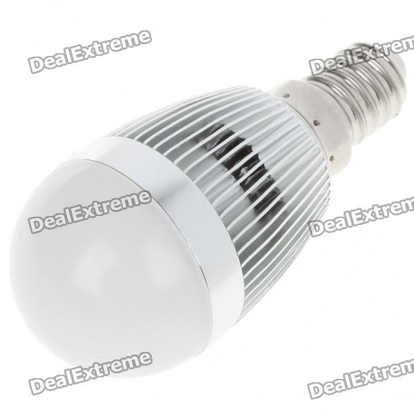 E14 3W 240-260LM 3000-3500K Warm White LED Light Lamp Bulbs - Silver + White (85~245V) mr16 3w 3 led 260 lumen 3500k warm white light bulb 12v