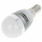 E14 3W 240-260LM 3000-3500K Warm White LED Light Lamp Bulbs - Silver + White (85~245V)
