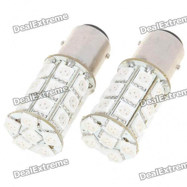 BAY15D 5.4W 270LM 27x5050 SMD LED Car Brake/Turning/Reverse Red Light Bulbs - Pair (DC 12V) s25 2w 180lm red led car brake turning reverse light bulbs pair dc 12v