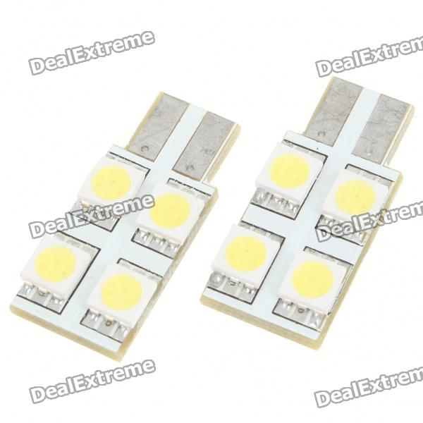 T10 1.5W 6000K 40-Lumen 4x5050 SMD LED Car White Light Bulbs (Pair/DC 12V) 1157 bay15d 5050 30 smd 4w 6500k 360lm led car light bulbs dc 14v pair