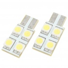 T10 1.5W 6000K 40-Lumen 4x5050 SMD LED Car White Light Bulbs (Pair/DC 12V)