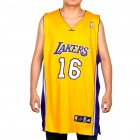 NBA Los Angeles Lakers #16 Pau Gasol Jersey - Yellow + Purple (Size 54)