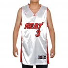 NBA Miami Heat #3 Wade Jersey - White + Red (Size 48)