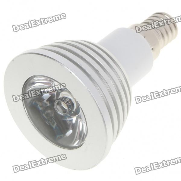 E14 3W Multicolored LED Light Bulb with Remote Controller (1 x CR2025/ 85~265V) 3w 3 led red