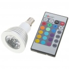 E14 3W RGB Light LED Remote Control Cup Bulb (1*CR2025 / 85~265V)