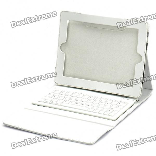 Bluetooth V2.0 Wireless Keyboard with PU Leather Case for Ipad/Ipad 2 - White