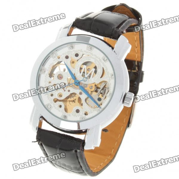 PU Leather Band Stainless Steel Mechanical Wrist Watch - Black + Silver