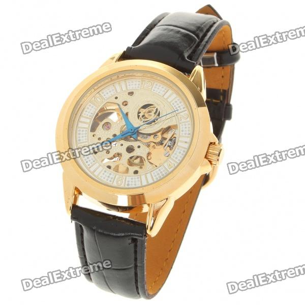 PU Leather Band Stainless Steel Mechanical Wrist Watch - Black + Golden