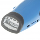 Hand-Crank 6-LED White Light Dynamo Flashlight with FM Radio & Music Speaker - Blue
