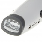 Hand-Crank 6-LED White Light Dynamo Flashlight with FM Radio & Music Speaker - Grey