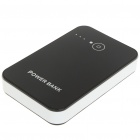 Dual-USB Output 6600mAh Rechargeable External Battery Pack with Cellphone Adapters (Black)
