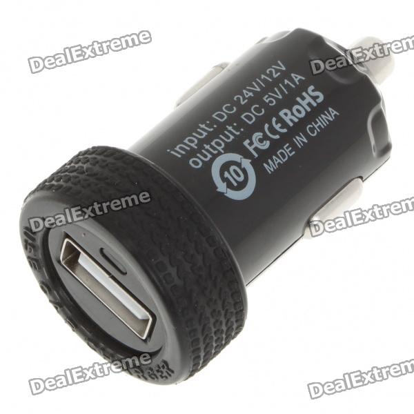Car Cigarette Powered 1000mA USB Adapter/Charger - Black (DC 12V/24V)