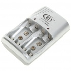 Multi-Function Charger for AA/AAA/9V Ni-MH/Ni-Cd Rechargeable Batteries - Silver + Dark Gray