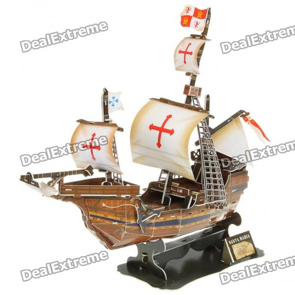 DIY 3D Puzzle Ship Model - Santa Maria coeus 3d wooden puzzle the beautiful world the wedding chapel educational games for kids 3d puzzles for adults