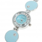Stylish Crystal Stainless Steel Quartz Water Resistant Wrist Watch - Light Blue (1 x LR626)