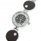 Stylish Crystal Stainless Steel Quartz Water Resistant Wrist Watch - Black (1 x LR626)