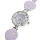 Stylish Crystal Stainless Steel Quartz Water Resistant Wrist Watch - Purple Pink (1 x LR626)