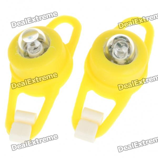 Colorful Light 2-Mode Tie-On Bike Light Keychains - Yellow (Pair / 2 x CR2032)
